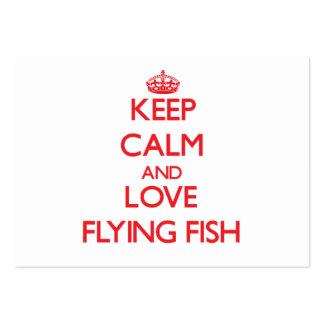 Guarde la calma y ame el pez volador tarjetas de negocios