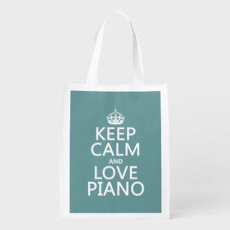 Guarde la calma y ame el piano (cualquier color de bolsa para la compra