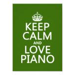 Guarde la calma y ame el piano (cualquier color de invitación 13,9 x 19,0 cm