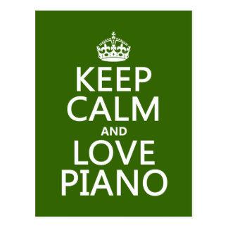 Guarde la calma y ame el piano (cualquier color de postal