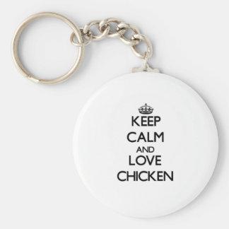 Guarde la calma y ame el pollo llavero redondo tipo pin