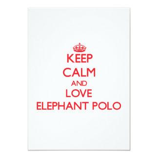 Guarde la calma y ame el polo del elefante invitación 12,7 x 17,8 cm