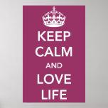 Guarde la calma y ame el poster de la vida