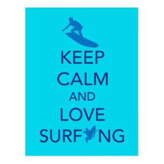 Guarde la calma y ame el practicar surf de selecci postales