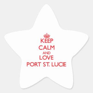 Guarde la calma y ame el puerto Sta. Lucía Colcomanias Forma De Estrella Personalizadas