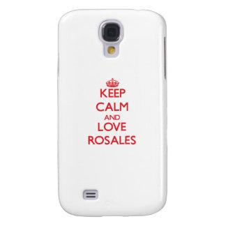 Guarde la calma y ame el Rosales Funda Para Galaxy S4
