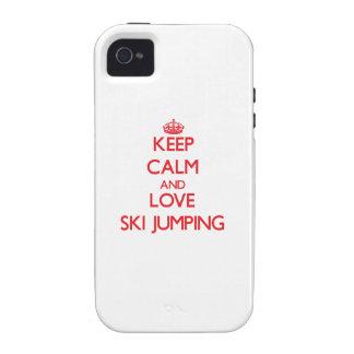 Guarde la calma y ame el salto de esquí vibe iPhone 4 carcasa