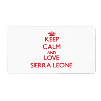 Guarde la calma y ame el Sierra Leone Etiqueta De Envío