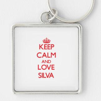 Guarde la calma y ame el Silva Llaveros Personalizados