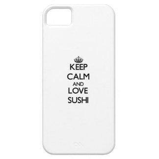 Guarde la calma y ame el sushi iPhone 5 carcasa