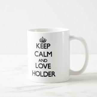 Guarde la calma y ame el tenedor taza de café