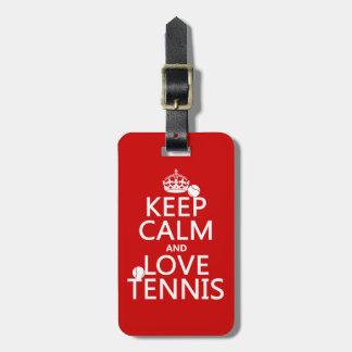 Guarde la calma y ame el tenis (el color del etiquetas para maletas