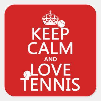 Guarde la calma y ame el tenis (el color del pegatina cuadradas personalizada
