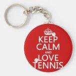 Guarde la calma y ame el tenis (el color del perso llavero