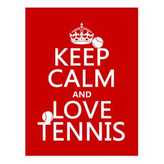 Guarde la calma y ame el tenis (el color del perso postal