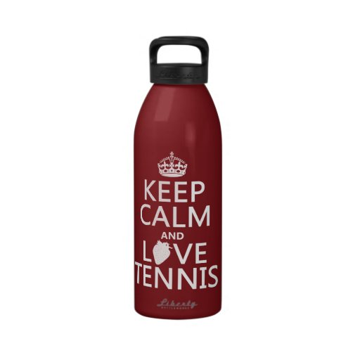Guarde la calma y ame el tenis (en cualquier color botella de agua