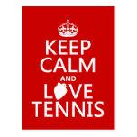 Guarde la calma y ame el tenis (en cualquier color postal