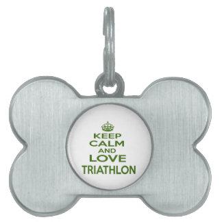 Guarde la calma y ame el Triathlon Placa De Mascota