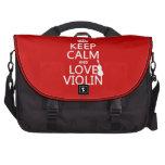 Guarde la calma y ame el violín (cualquier color d bolsa de ordenador