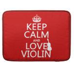 Guarde la calma y ame el violín (cualquier color d funda para macbooks