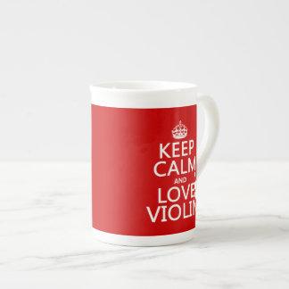 Guarde la calma y ame el violín (cualquier color d tazas de china