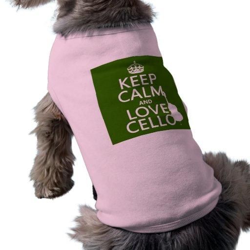 Guarde la calma y ame el violoncelo (cualquier col playera sin mangas para perro