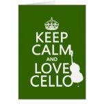 Guarde la calma y ame el violoncelo (cualquier col tarjeta