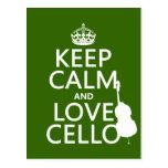 Guarde la calma y ame el violoncelo (cualquier col postal