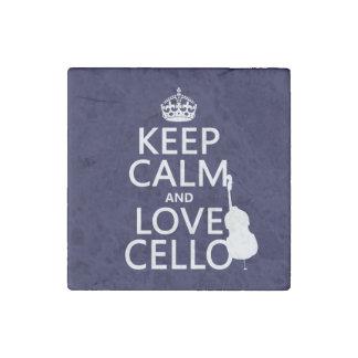 Guarde la calma y ame el violoncelo (cualquier imán de piedra