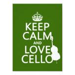 Guarde la calma y ame el violoncelo (cualquier invitación 13,9 x 19,0 cm