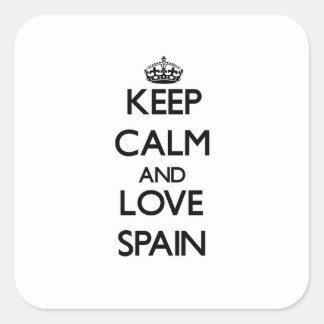 Guarde la calma y ame España Pegatina Cuadrada