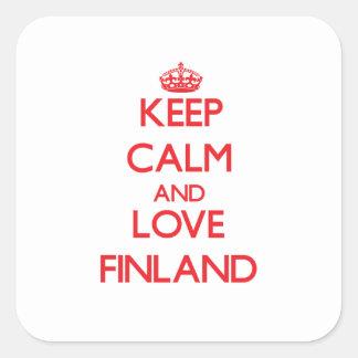 Guarde la calma y ame Finlandia Calcomanía Cuadradas Personalizadas