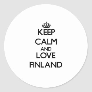 Guarde la calma y ame Finlandia Pegatina Redonda