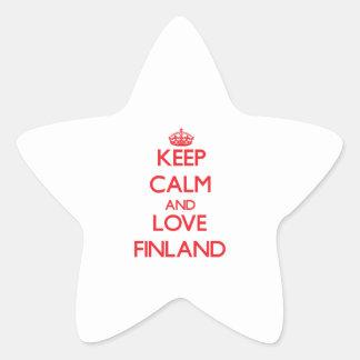 Guarde la calma y ame Finlandia Pegatinas Forma De Estrellaes