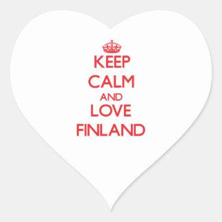 Guarde la calma y ame Finlandia Pegatina Corazón