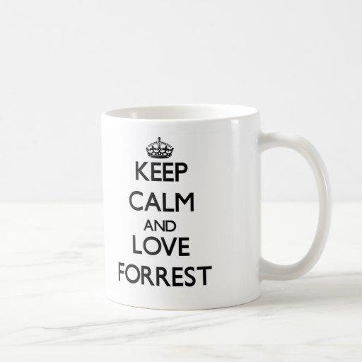 Guarde la calma y ame Forrest Taza Básica Blanca