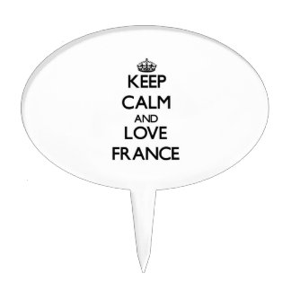 Guarde la calma y ame Francia Figuras Para Tartas