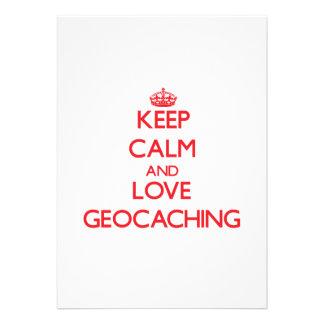 Guarde la calma y ame Geocaching Invitación Personalizada