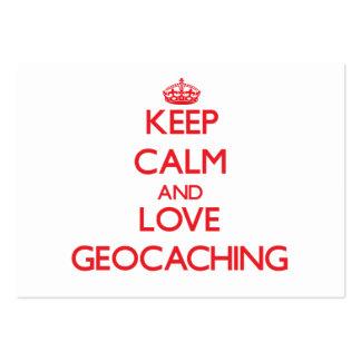 Guarde la calma y ame Geocaching Tarjeta De Visita