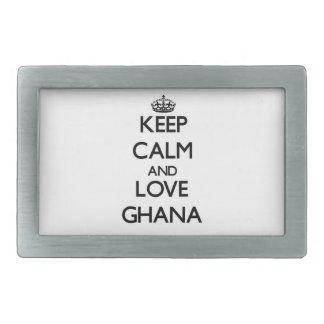 Guarde la calma y ame Ghana Hebillas Cinturon Rectangulares