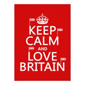 """Guarde la calma y ame Gran Bretaña (los colores Invitación 5.5"""" X 7.5"""""""