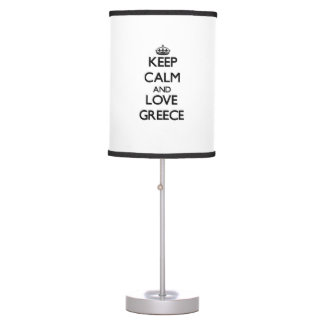 Guarde la calma y ame Grecia Lámpara De Mesa