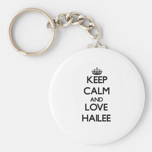 Guarde la calma y ame Hailee Llavero Personalizado
