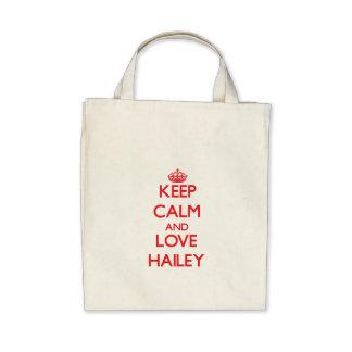 Guarde la calma y ame Hailey Bolsas De Mano