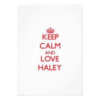 Guarde la calma y ame Haley Invitaciones Personales