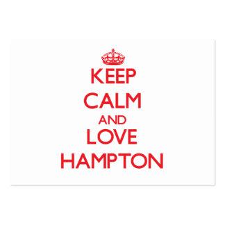 Guarde la calma y ame Hampton Tarjetas De Visita Grandes
