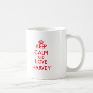 Guarde la calma y ame Harvey Taza De Café