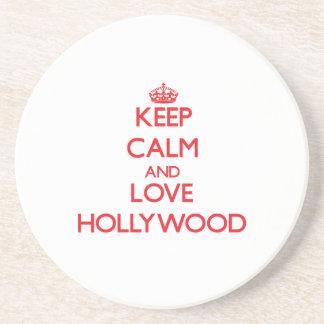 Guarde la calma y ame Hollywood Posavasos Manualidades