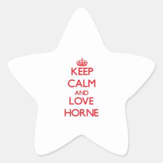 Guarde la calma y ame Horne Pegatinas Forma De Estrella Personalizadas