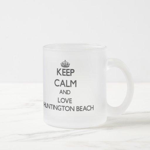 Guarde la calma y ame Huntington Beach Taza De Café
